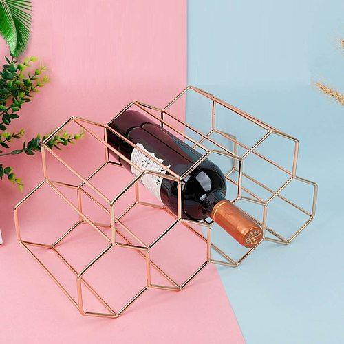 Metal Honeycomb Wine Rack Wine Bottle Storage Beehive Tabletop Modern Wine Rack Hexagon 9 Bottle Wine Holder Display
