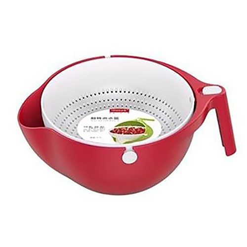 Kitchen Silicone Double Drain Basket Bowl Washing Storage Basket Strainers Bowls Drainer Vegetable Cleaning Colander Tool