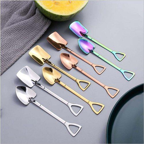 3 Colors Stainless Steel Creative Afternoon Tea Dessert Long Handle Spoon Ice Cream Coffee Spoon Shovel Shape Shell TeaSpoon