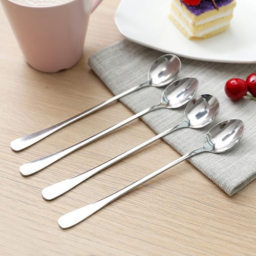 New Spoon Long Handled Stainless Steel Coffee Spoon Ice Cream Dessert Tea Spoon For Picnic Mixing Spoon Kitchen Accessories
