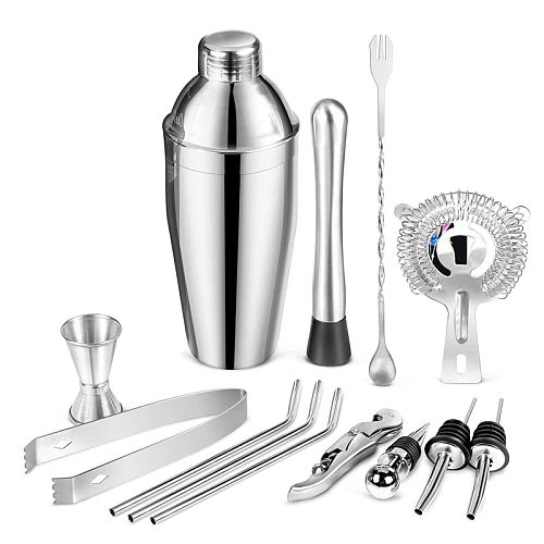 Cocktail Shaker 13-Piece, Cocktail Shaker Bar Set 750Ml, Shaker Cocktail Kit with Mixing Spoon, Muddler, Bottle Stoppers