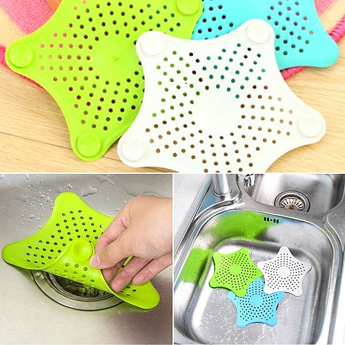 5colors Optional Starfish Mesh Silicone Sink Strainer Bathroom Kitchen Gadget Accessory Anti-blocking Hair Filter Sewer Floor Dr