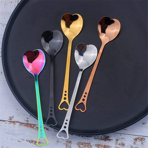 Luxury 304 Stainless Steel Spoon Love Shape Breakfast Coffee Milk Tea Juice Spoon Office Household Durable Teaspoon 14.5*3CM