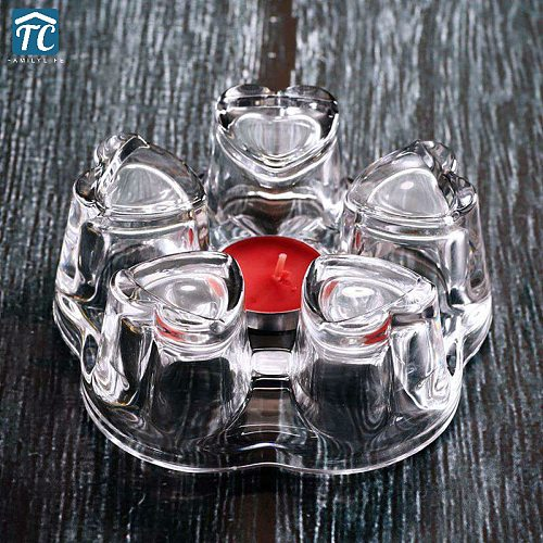 Portable Glass Teapot Warmer Heart Heating Base Heat-resisting Insulation Base Coffee Water Scented Tea Trivet Candle Clear
