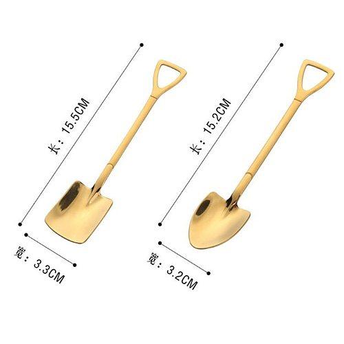 Creative Metal Ice Cream Coffee Spoon Shovel Shape Shell Tea Spoon 3 Colors Afternoon Tea Dessert Long Handle Spoon Kitchen Tool