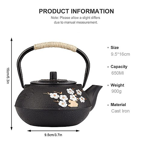 YMEEI 800ML Japanese Cast Iron Teapot With Stainless Steel Infuser Strainer Plum Blossom Cast Iron Tea Kettle For Boiling Water