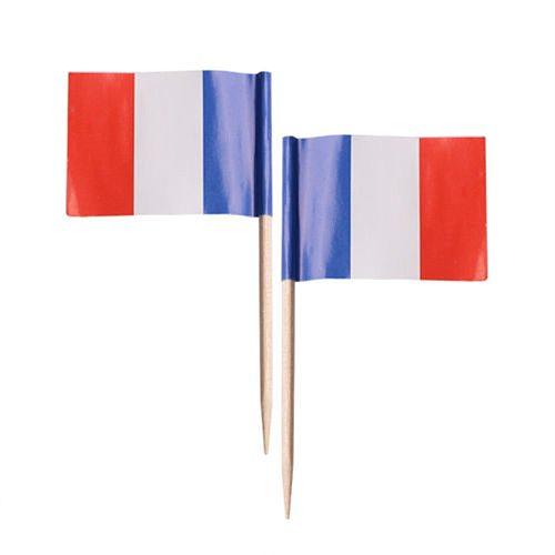 50pcs France Flag Toothpicks Wood Party Cupcake Decoration Sandwich Food Picks Flag Cooktail Sticks