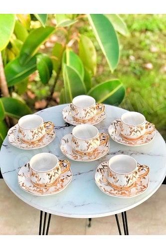 6 pcs cups and 6 pcs plates Porcelain White Gilt Cup Set porcelain elegant elegant