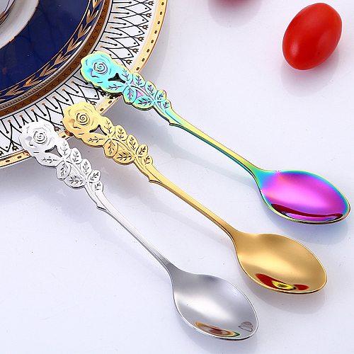1pc Long Handle Mini Stainless Steel Rose Coffee Spoon Stirring Spoon Teaspoon Small Ice Cream Dessert Spoons Kitchen Flatware