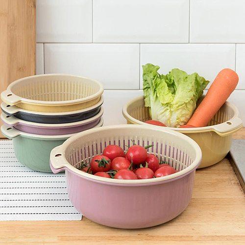 Detachable Double-layer Plastic Food Strainer Hollow Fruit Vegetable Wash Colander Kitchen Cleaning Washing Basket Strainer