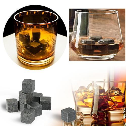 9pcs 100% Natural Whiskey Champagne Stone Whiskey Ice Cube Drink Beverage Cool Whiskey Ice Wine Stone Cube Whiskey Granite