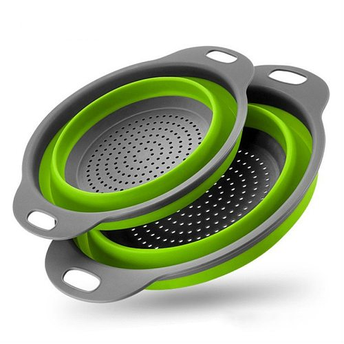 Foldable Silicone Colander Fruit Vegetable Washing Basket Strainer Round Strainer Collapsible Drainer With Handle Kitchen Tools
