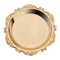 4''/6'' Gold Round Metal Fruit Dish Pastry Plate Tea Dessert Serving Tray for Hotel, Restaurant, Home Tableware