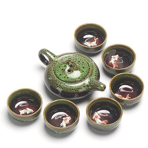 Chinese Kung Fu Tea Set Ceramic Glaze Teapot Porcelain Teaset Portable Tea Cups Of Tea Ceremony Teaware Sets Free Shipping