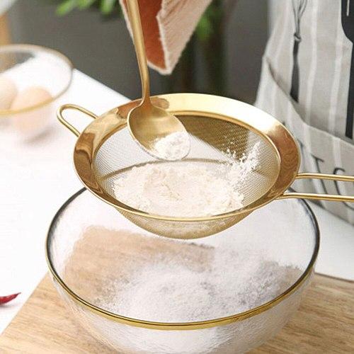 Stainless Steel Gold Mesh Separate Oil Strainer Flour Sifter Sieve Colanders Flour Coffee Mesh Filter Kitchen Bakware