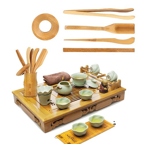 5 Pcs/set Wooden Teaware Bamboo Teaspoons Needle Tweezer Clip Strainer Tong Tube Set Tea Ceremony Utensils Set