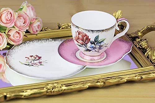 White & Beige Bone Pink 2-Piece Tea Cup Set 260Ml