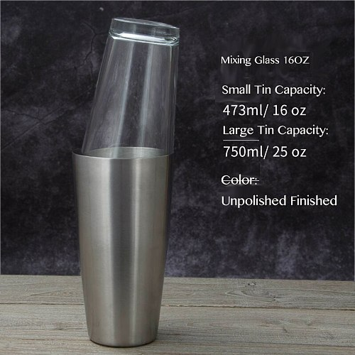 Classic Boston Cocktail Shaker Set, Stainless Steel with Recipe Glass (Stainless Steel)