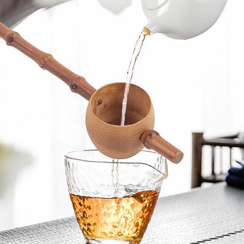 TOPINCN Natural Bamboo Tea Strainer Reusable Filter Tea Tools Colander Gadgets Sieve for Tea Brewing Teaware
