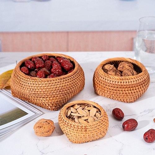 Hand-Woven Storage Basket Rattan Storage Tray Fruit Nuts Tea Set Display Box Desktop Sundries Organizer Handcrafts Home Decor
