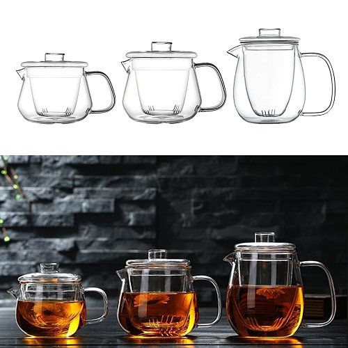 Clear Glass Teapot Kettle Tea Pot with Removable Tea Strainer Stovetop Safe