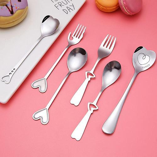 Stainless Steel Heart Shape Coffee Tea Spoon Fork Dessert Sugar Stirring Decorative Spoons Teaspoon Wedding Gift Kitchen Tools
