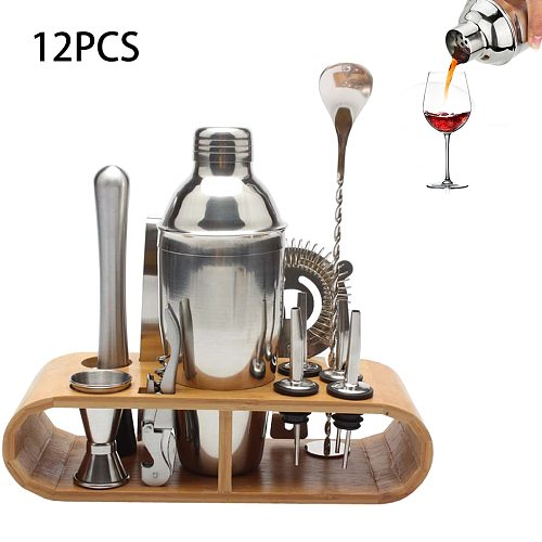 12pcs/8pcs Set Cocktail Shaker Bartender Kit with Stylish Wooden Stand 750ML Professional Stainless Steel for Home Bar Party