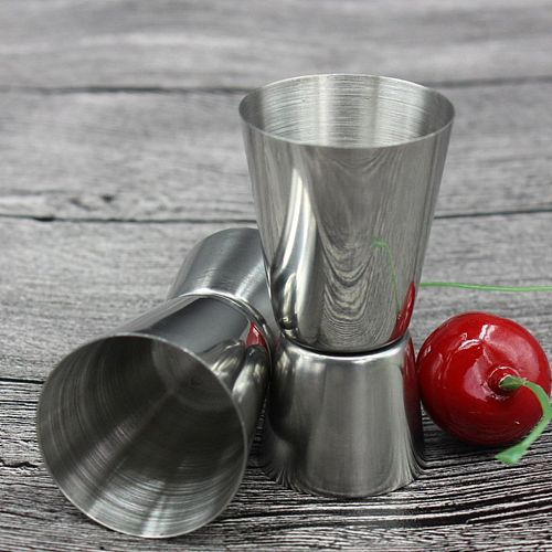 25/50ml Stainless Steel Cocktail Shaker Measure Cup Dual Shot Drink Spirit Measure Jigger Kitchen Bar Accessories