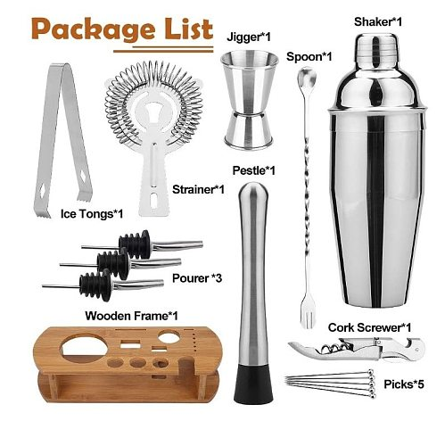 Premium Cocktail Shaker Bartender Kit With Natural Bamboo Stand  Cocktail Shaker Set With Highest Quality Bar Tools