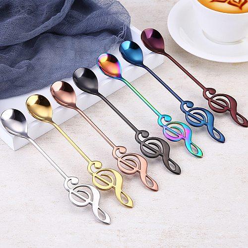 7pcs/ 4pcs Musical Note Coffee Spoons Stainless Steel Tea Stirring Spoons Set Sugar Ice Cream Mug Dessert Spoon Drink Tableware