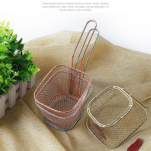 Mini French Fries Fryer Basket Square Chips Frying Net Mesh Baskets Strainer Chef Fried Chicken Snack Kitchen Cooking Tools