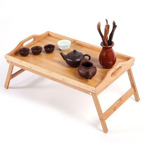 Folding Natural Bamboo Tea Tray Table Laptop Table Breakfast Serving Bed Trays Computer Desk Stand Home Accessories