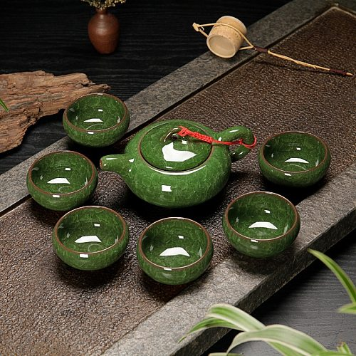 7pcs Tea Pot and Cup Set Jade Green Teaware Ice Crack Novelty Bone China Teacup Home Decoration Drinking Chinese Tea Set