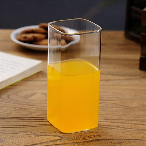 2Pcs/Set Heat-Resistant Glass Office Teacup Creative Square Fruit Juice Cup Transparent Coffee Milk Mug Household Drinkware