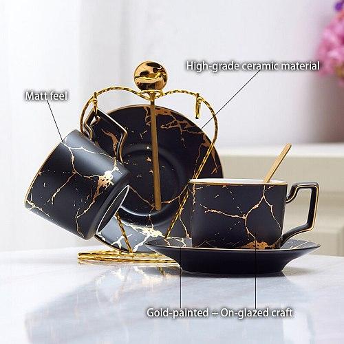 Marble Ceramic Coffee Cup Saucer Spoon Set 200ml Nordic Tea Cup Matt Porcelain Tea Set Advanced Teacup Cafe Espresso Cup