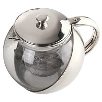 Modern Stylish Stainless Steel + Glass Teapot With Loose Tea Leaf Infuser Silver Accessories