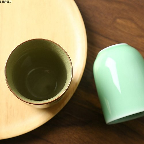 150ml Solid Color Traditional Chinese Style Celadon Crackle Ceramic Teacup China Porcelain Small Coffee Tea Cups