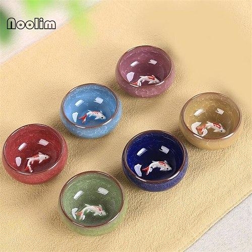 6Pcs/Set Colorful Ice Cracked Glaze Ceramic China Kongfu Tea Cup 3D Carp Teaset Porcelain Teapot Creative Home Drinkware Gifts
