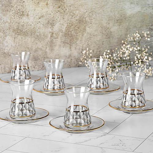Patterned Tea Set Glass Drinkingware Teacup Ceramic Tea Set Teaware Tea Mugs 6 Pieces Kitchen Home Decoration