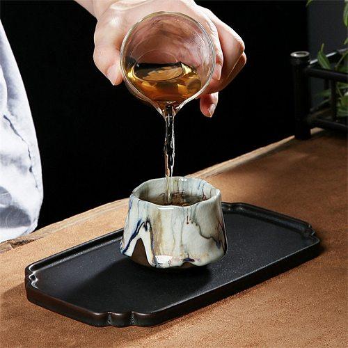 Japanese Style Ceramic Ice Cracked Glaze Tea Cup Handmade Coarse Pottery Ru Kiln Master Cup Creative Office Teacups Drinkware