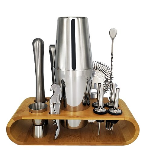 12Pcs Stainless Steel Cocktail Shaker Bar Set Wine Drinking Mixer Boston Style Shaker Party Bar Tool with Bamboo Stand
