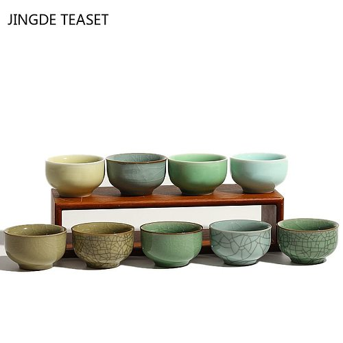 2pcs/lot Chinese Ceramics Teacup Solid Color Crack Handmade Single Cup Tea Bowl Master Cups Individual Cup Teaware Accessories