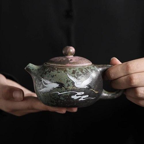 Xishi Ceramic Tea Pot Crane Handmade Green Chinese Tea Pot Retro Ceramic Kung Fu Teapot Small Pot Single Pot Pu'er Tea Maker