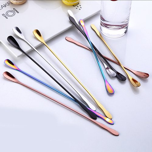 2019 New Round head Colorful Spoon Stainless Steel Long Handle Ice Spoon Coffee Drinking Tools Stirring Spoon Tableware Creative