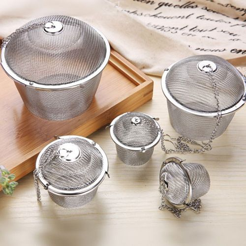 5 size Stainless Steel Mesh Tea Ball Strainer Filters Tea Interval Diffuser for Loose Leaf Tea Herbal Spices Seasonings