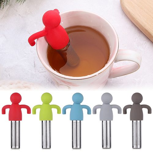 Silicone Tea Infuser Little Man Shaped Tea Strainer Ultra Fine Mesh Stainless Steel Coffee Leaf Tea Ball Strainer Infuser Filter