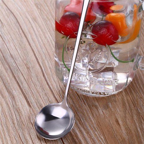 Stainless Steel Long Handle Stir Spoon Creative Ice Cream Dessert scoop Korean Cocktail Coffee tea mixing Spoon Flatware