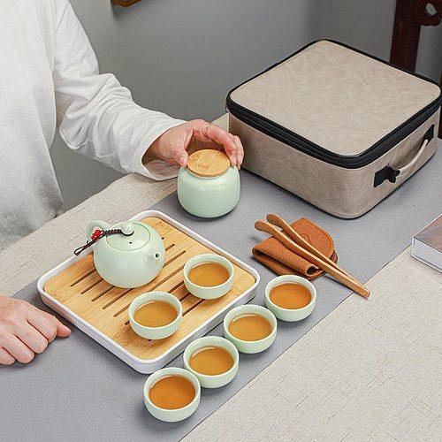 Chinese Travel Tea Set Ceramic Teapot Set Travel Kong Fu Tea Kit Gift Porcelain Infuser gongfu tea set  tea cup set of 6