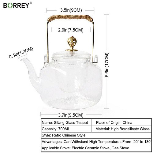 BORREY Borosilicate Glass Teapot With Tea infuser Heat Resistant Glass Teapot For Stove Japanese Lifting Teapot Puer Tea Kettle