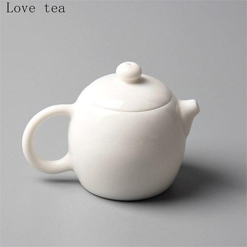 White Jade Porcelain Handmade Pot Good Water White Porcelain Bone Winter Melon Pot Kung Fu Teapot 100ml Home Exquisite Tea Set